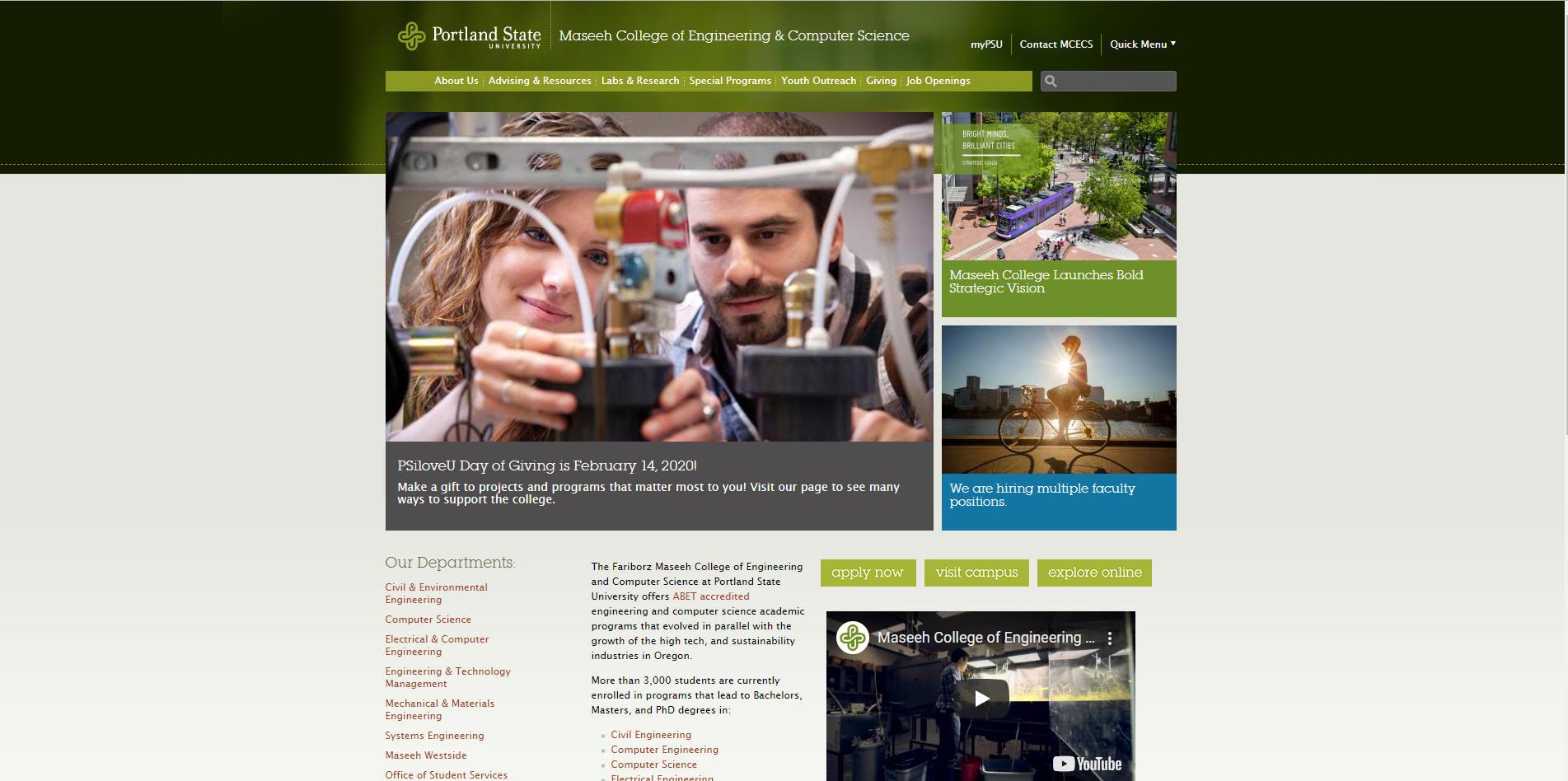 Portland State University Maseeh School Of Engineering Average Gre Scores Gpa And Toefl